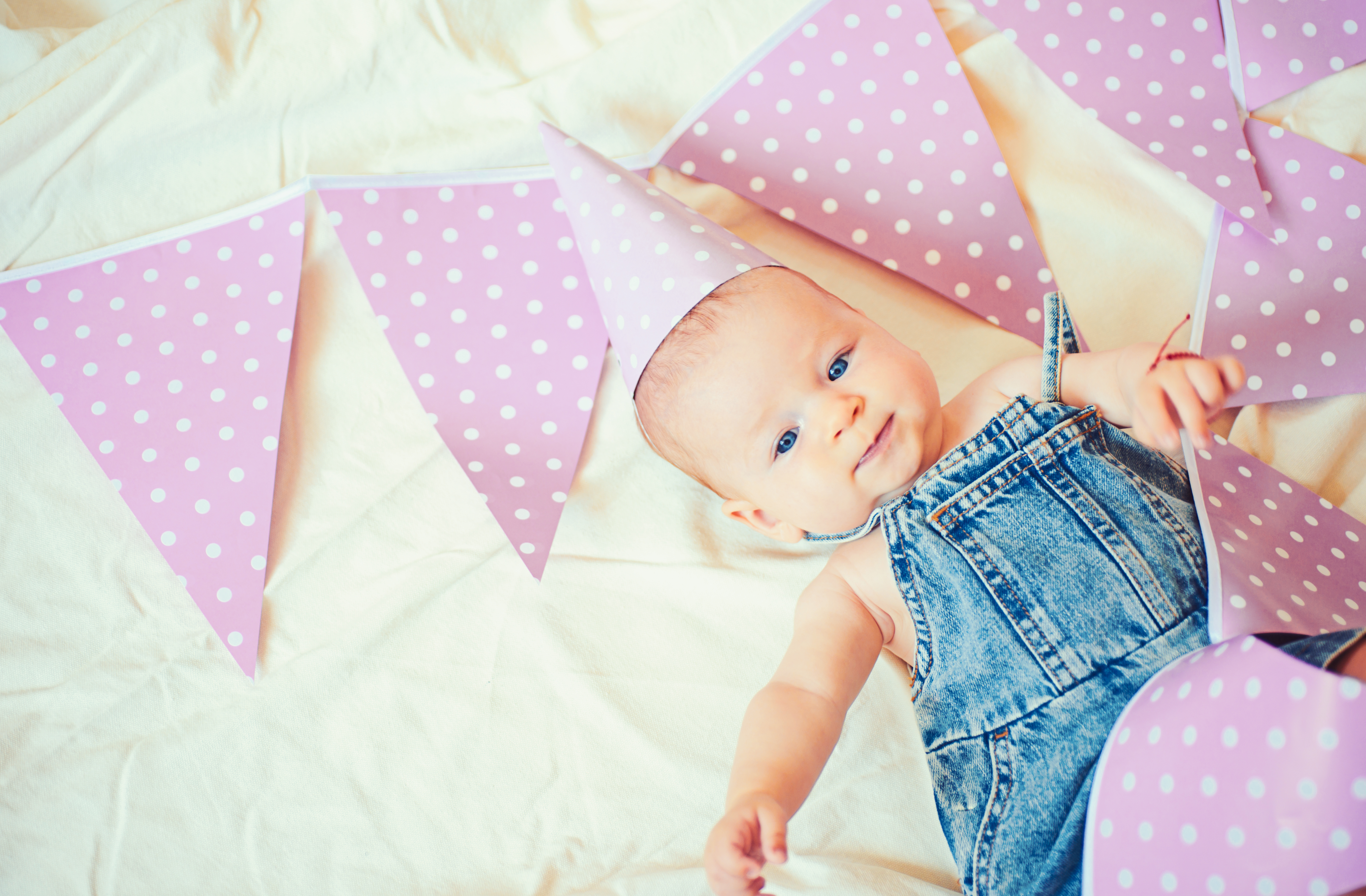 baby with bunting